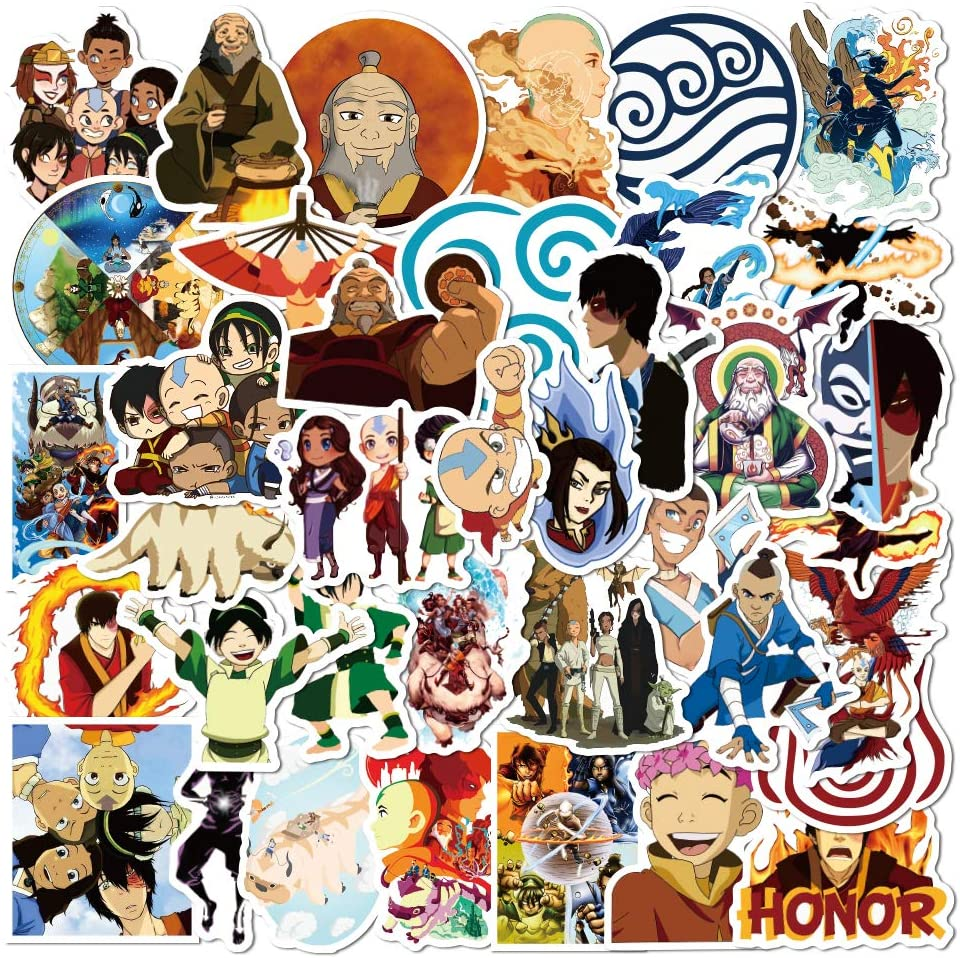 Newest Avatar 50pcs Cartoon Sticker, The Last Airbender Waterproof Bottle Decal Vinyl Funny for Computer Bike Laptop Teen Car Gift Figure Collection Luggage Snowboard Printer Fridge