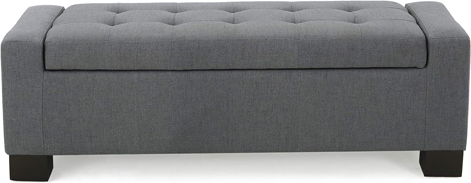 Christopher Knight Home 299501 Living Rothwell Charcoal Fabric Storage Ottoman