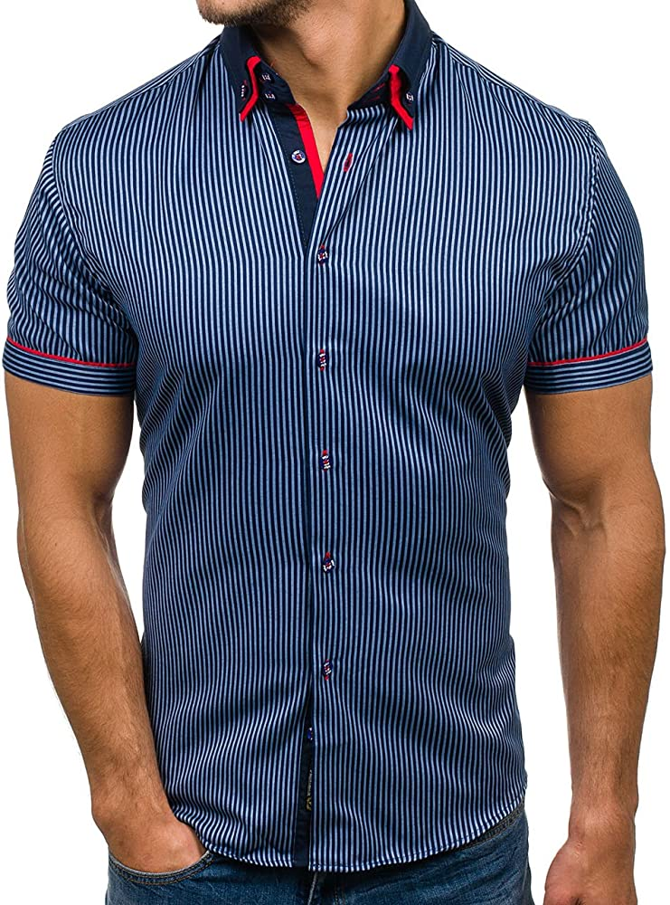 BOLF - Camisa casual - Manga corta - para hombre Dunkelblau_4505-1 Medium: Amazon.es: Ropa y accesorios