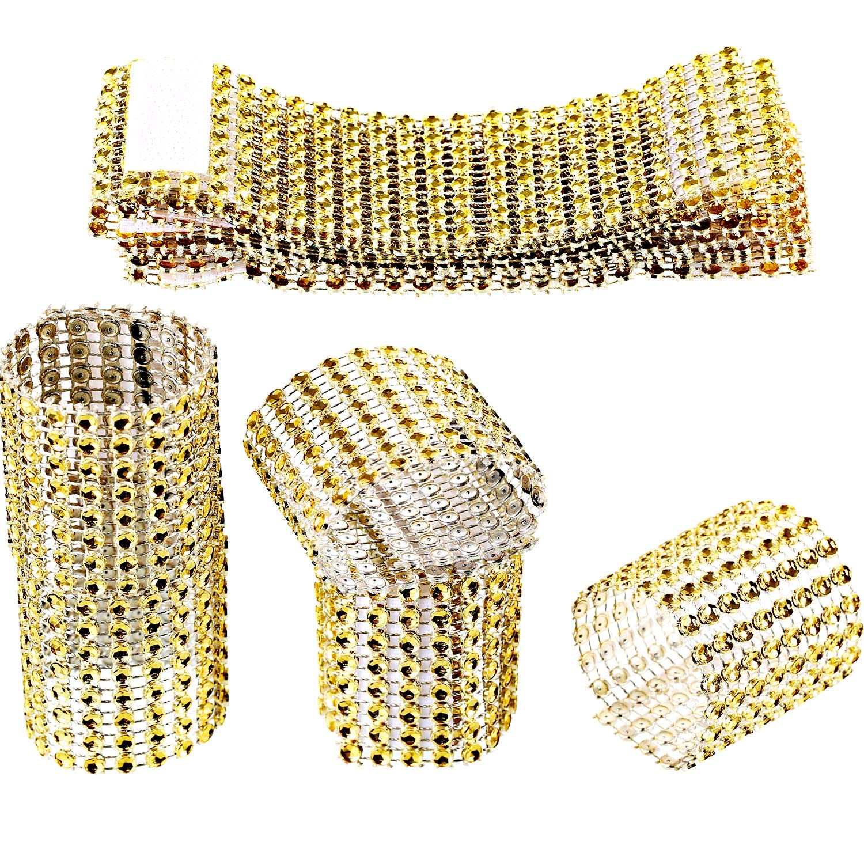 Zhanmai 110 Pieces Rhinestone Napkin Rings Gold Napkin Mesh Adornment for Wedding Party Birthday Supplies