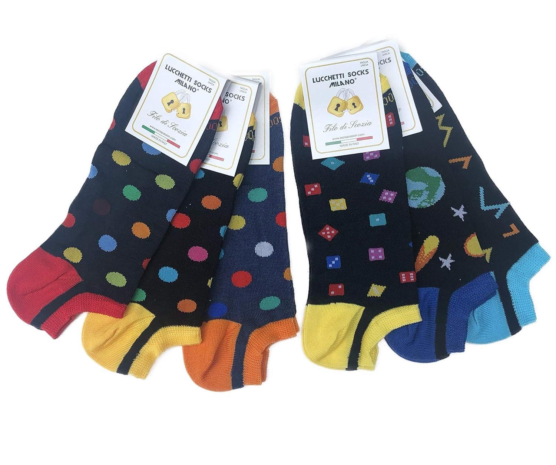 Lucchetti Socks Milano 6 PAIA FANTASMINI uomo cotone fantasia pois disegni FILO DI SCOZIA sotto la caviglia NERO BIANCO BLU made in Italy
