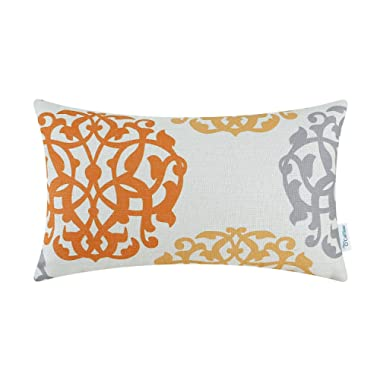 CaliTime Canvas Bolster Pillow Cover Case for Couch Sofa Home Decoration Three-Tone Floral Compass Geometric 12 X 20 Inches Orange/Gray