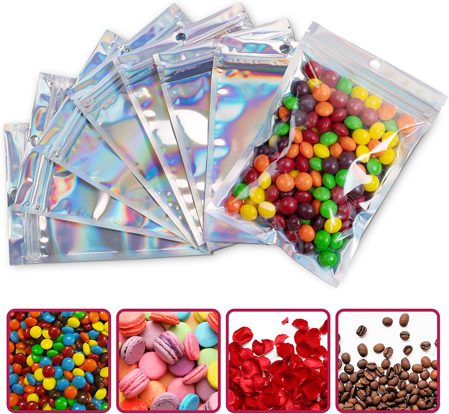 100 Pcs 4.3x6.3 Inch Resealable Laser Packaging Ziplock Bags, Waterproof & Smell Proof, Durable Aluminum Foil Plastic Flat Pouch for Food Candy Snack Coffee Jewelry Storage (Holographic Rainbow Color)