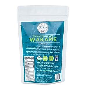 Ocean's Balance Organic Whole Leaf Wakame - Maine Coast Seaweed - Atlantic Ocean Sea Vegetables, Perfect for Keto Diet, Paleo Diet, Vegetarian Lifestyle or Vegan Diet - Gluten Free - 2oz Bag x 3 Bags