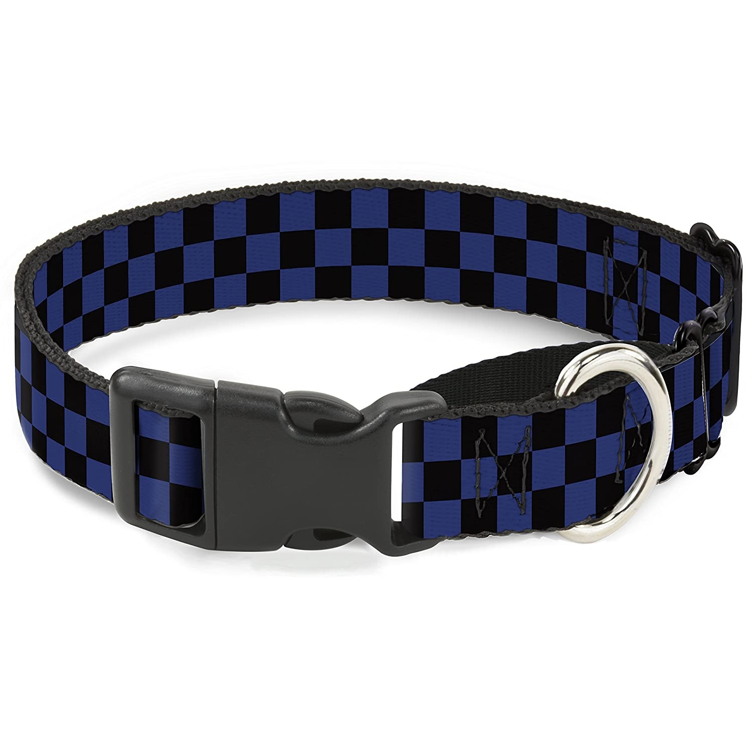 Buckle-Down Checker Black Royal 288C Martingale Dog Collar, 1  Wide-Fits 9-15  Neck-Small