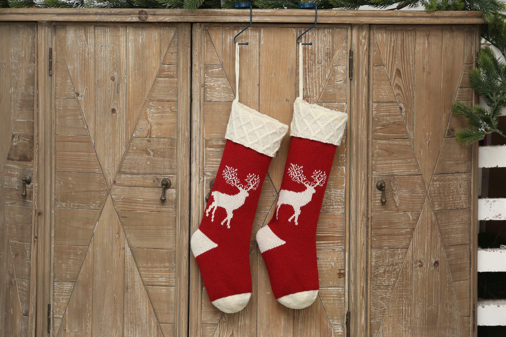 Nikolausstiefel, Nikolausstümpfe, 4er Set, 46x22cm, große Weihnachsstrumpf als Geschenkbeutel zum Befüllen von Süßigkeiten, Spiezeug, Hängende Weihanchtssocken auf Kamin, Schaufenster, Weihnachtsdeko