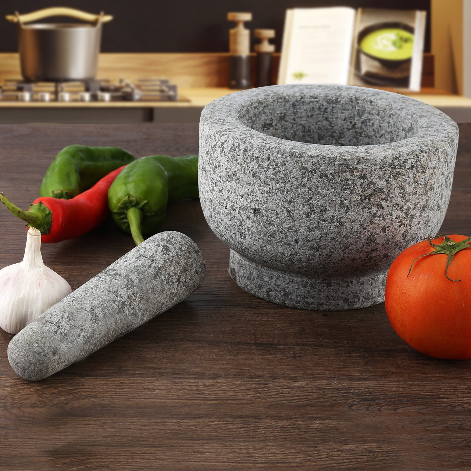 AntTech Granite Mortar and Pestle Gray Mortar Make Fresh Flavor Spice Herb Grinder Tool - 6 Inch Diameter