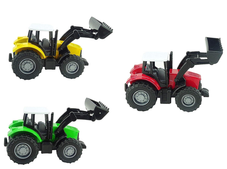 Juguetes de Granja 1 Tractor Verde 1 Amarillo TOYLAND Paquete de 3 1 Rojo Tractor de Tirar hacia Atr/ás Die Cast