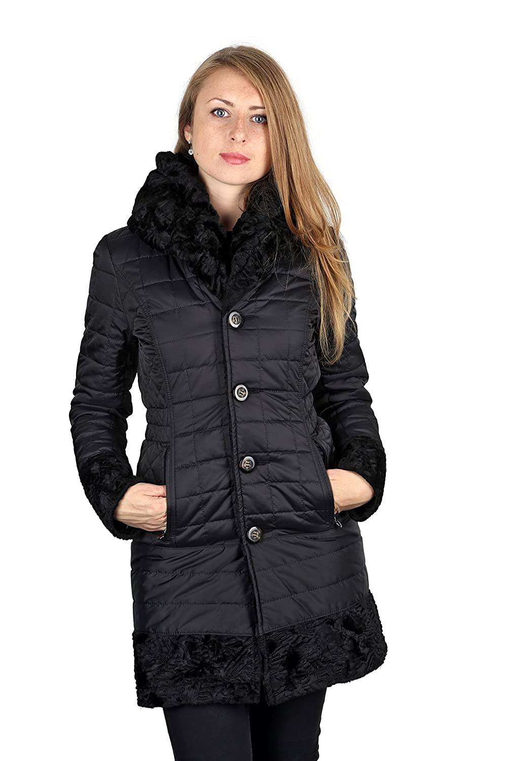 4d3e1318f607e Laundry By Shelli Segal Black Faux Fur Reversible 3 4 Plus Size Coat (1X)  at Amazon Women s Coats Shop