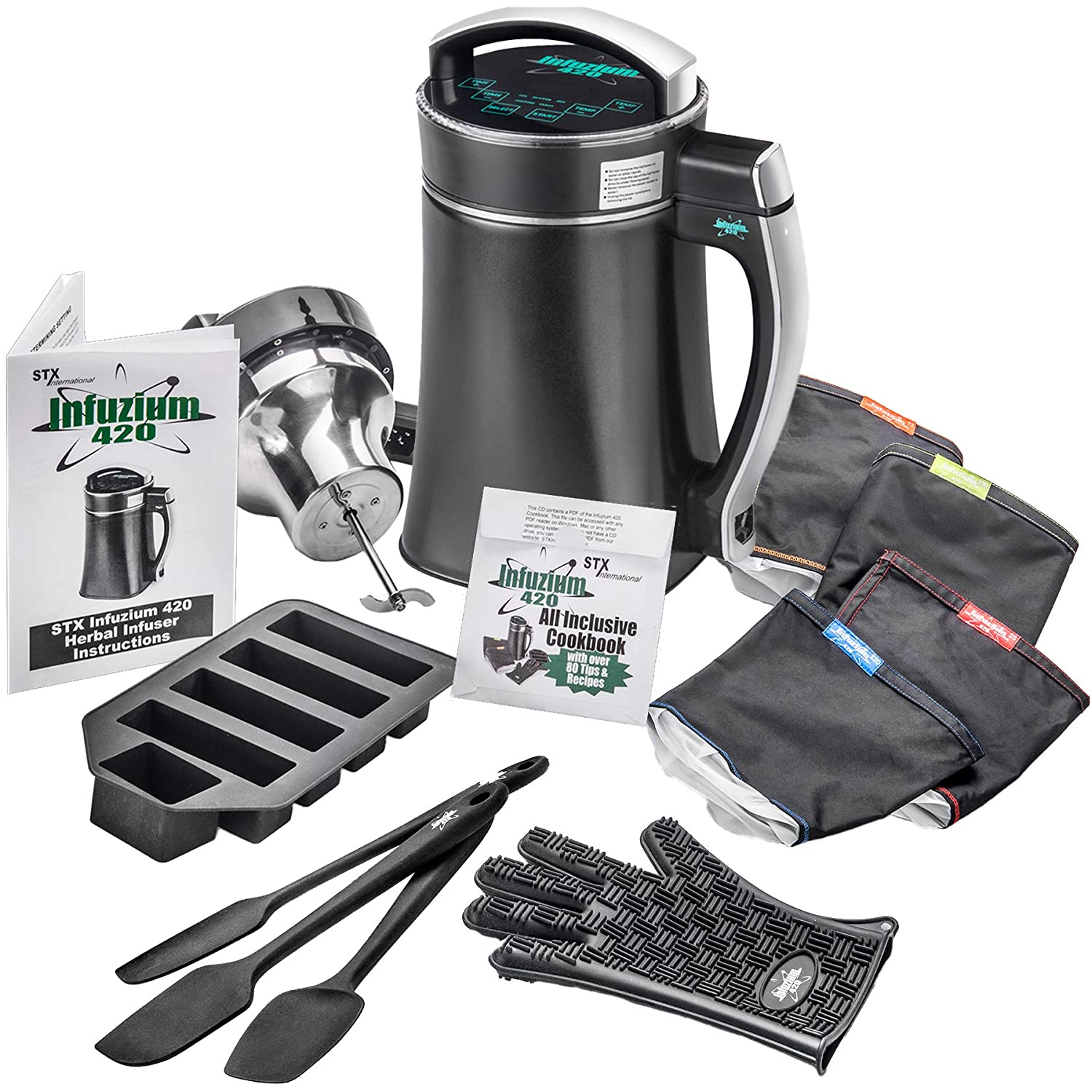"""STX Infuzium 420 Herbal Butter Infuser Machine - """"2 Sticks (1 Cup) ~ 8 Sticks (4 Cups) Butter"""". Includes: 2 Filters, Silicone Glove & Butter Mold plus The Infuzium 420 Cookbook - 80 Magical Recipes/Tips (Bonus - 2 Extra Filters & 3 Silicone Spatulas)"""