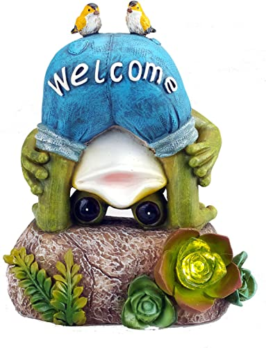 Solar Powered Frog with 2 Birds Outdoor LED Garden Light Decor