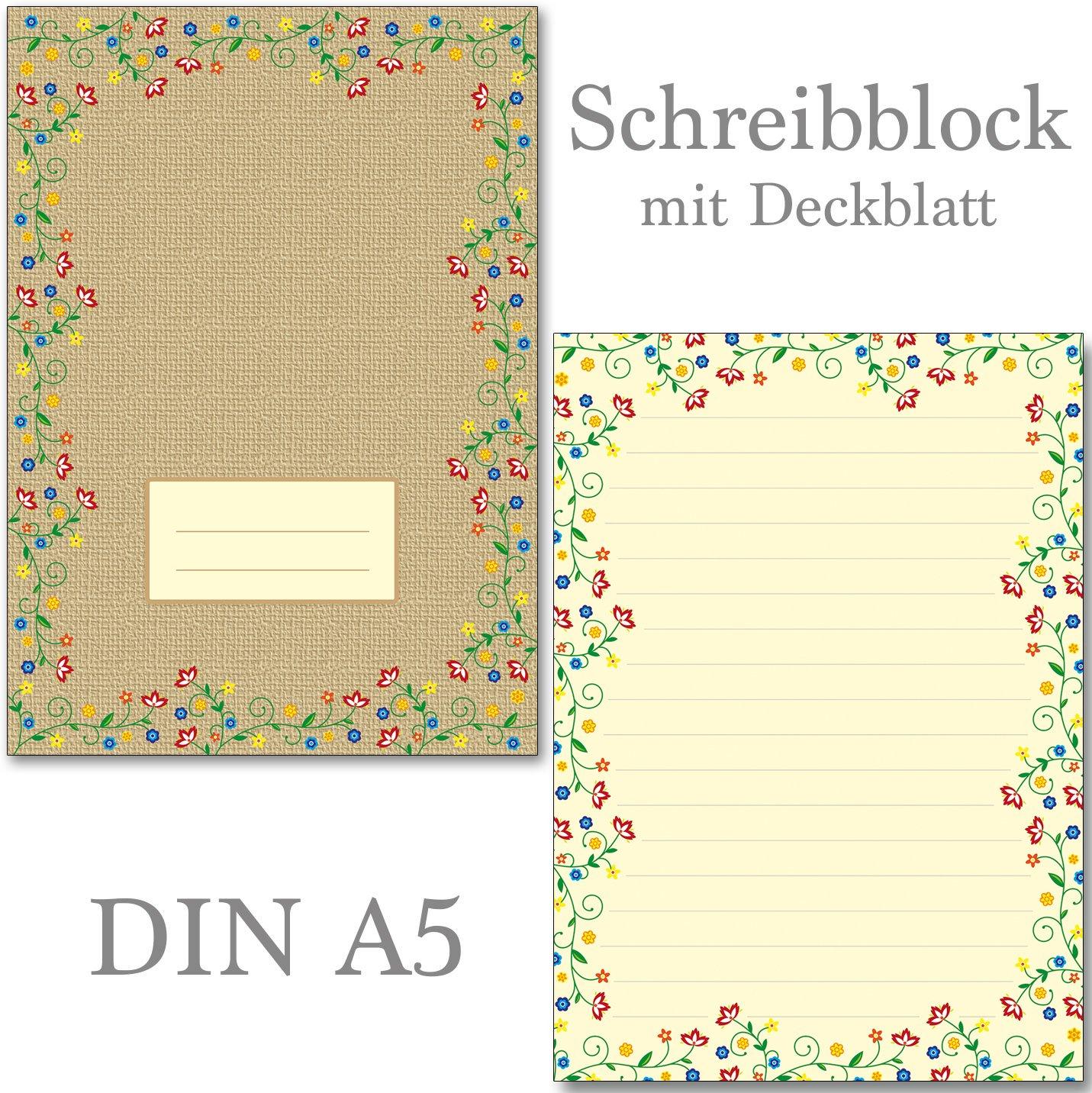 2 Schreibblöcke Blütenzauber Vintage 50 Blatt Format DIN A5 mit Deckblatt 7450 Konzept-G