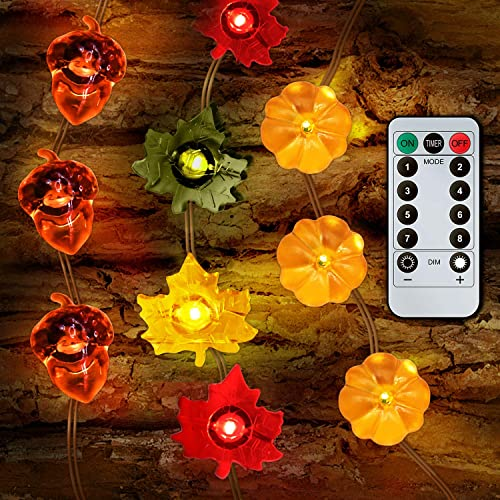Decoration Led String Lights, Thanksgiving 3D Pumpkin Maple Leaf Acorn String Lights, 10ft 30LEDs Battery Powered with Remote Control Timer for Fall Autumn Halloween Christmas Home Party, 3 Pack