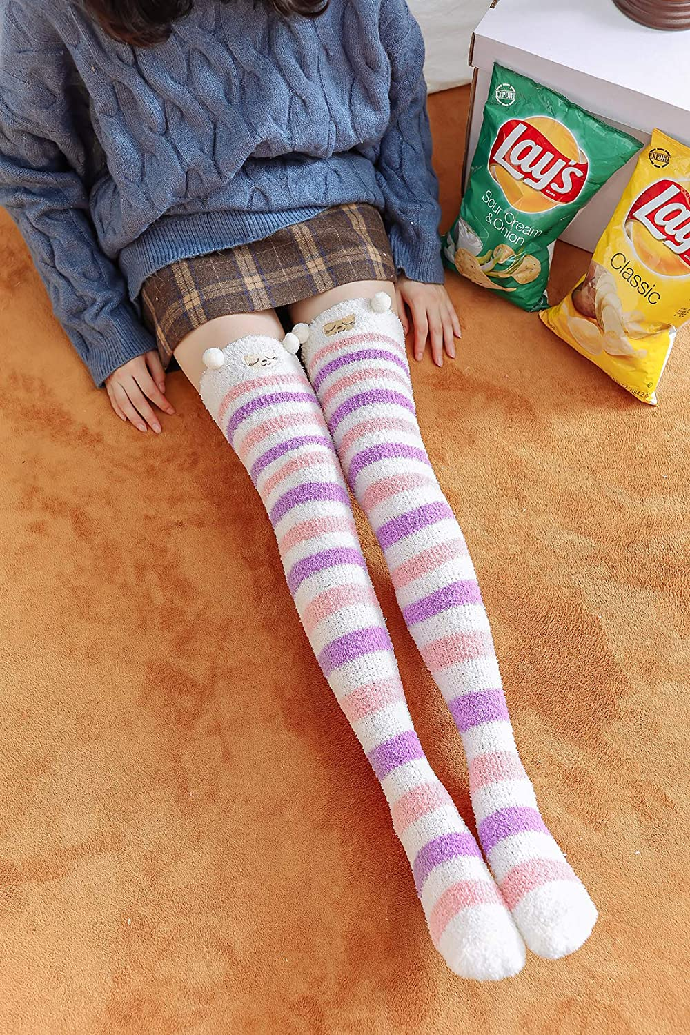 Biruil Fuzzy Socks Over Knee High Cute Cartoon Animal Winter Leg Warmers Stockings