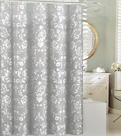 Tahari Napoli Scroll Fabric Shower Curtain White Floral Geometric Pattern On Gray Background