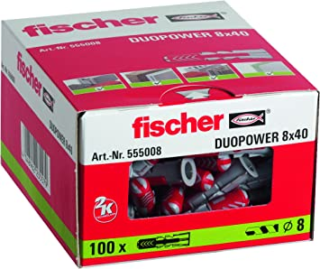 Fischer Taco Duopower 8X40 / (Caja de 100 Uds), 555008, Gris, Set ...