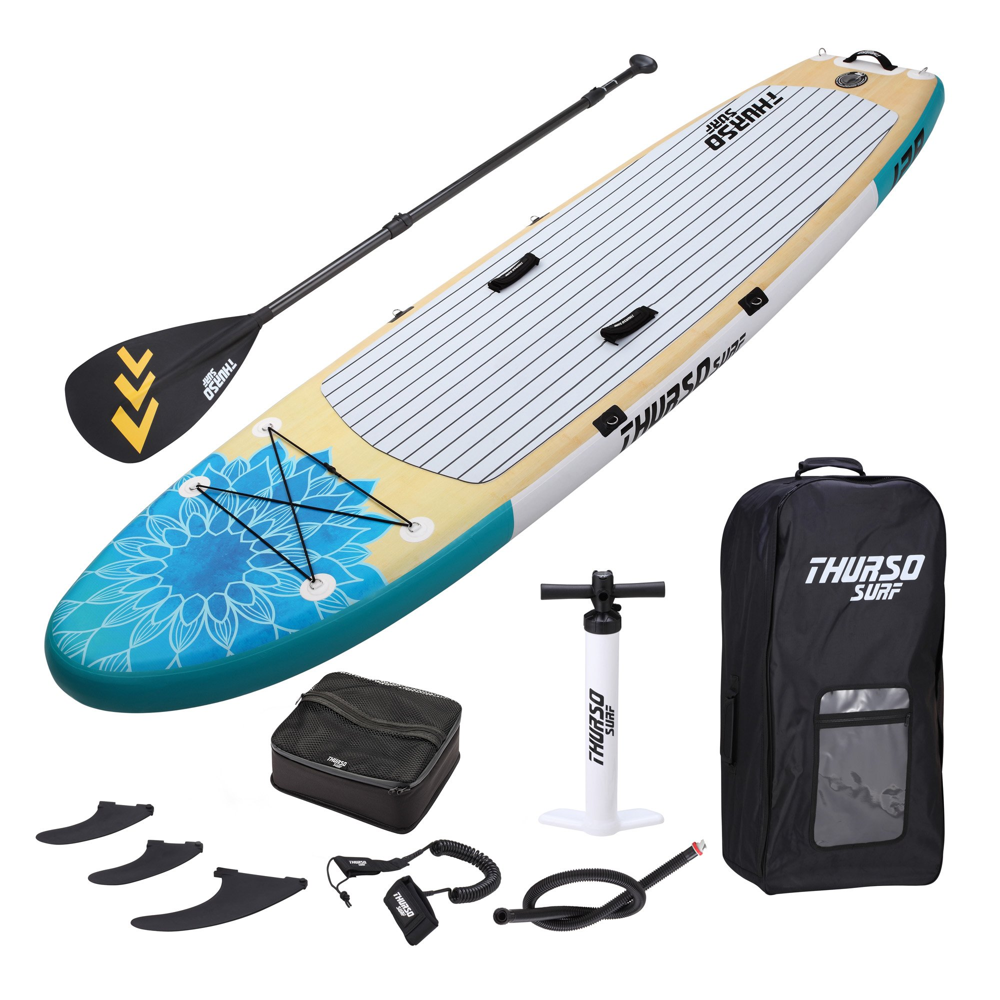 THURSO SURF Tranquility Yoga Inflatable Stand Up Paddle Board SUP 10'8 x 34'' x 6'' TWO LAYER Deluxe Package Includes CARBON Shaft Paddle/2+1 Quick Lock Fins/Deck Bag/Leash/Pump/Backpack