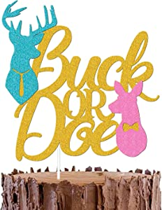 Buck or Doe Cake Topper Gender Reveal Cake Decorations for Boy or Girl Blue or Pink Baby Shower Party Supplies Sparkle Gold Decor