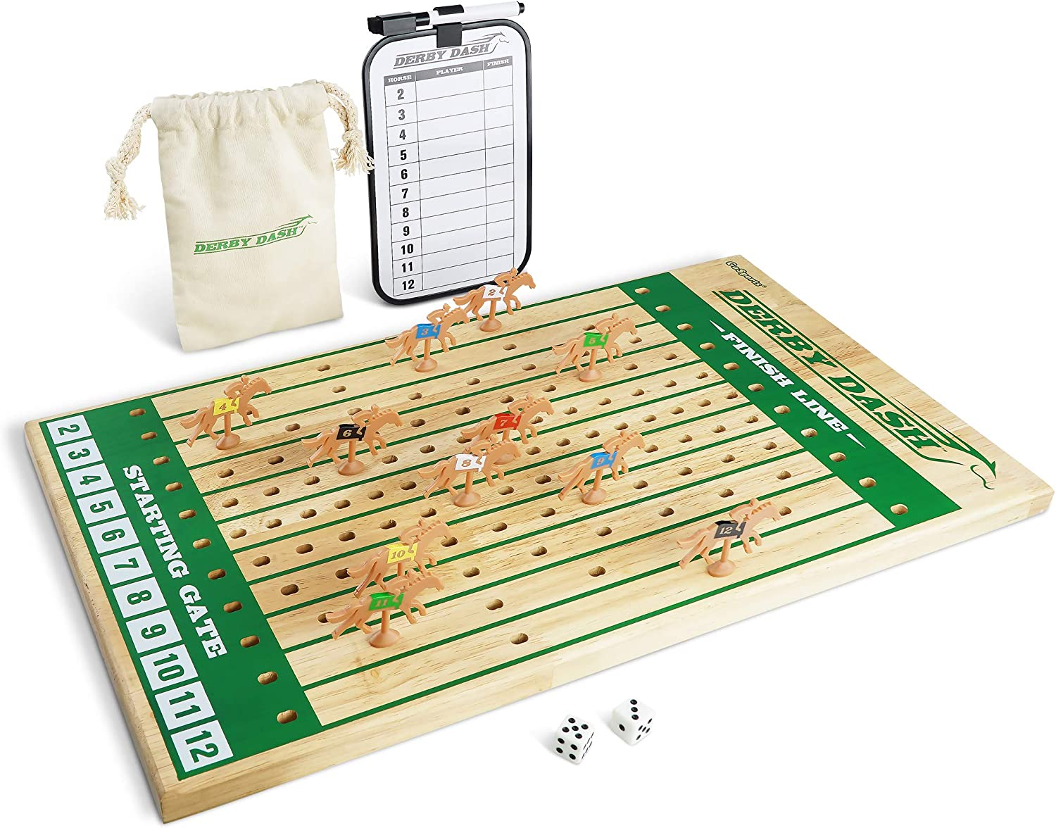 GoSports Derby Dash Horse Race Game Set | Tabletop Horse Racing with 2 Dice and Dry Erase Scoreboard