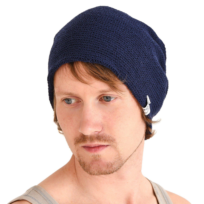 CHARM Casualbox | Mesh Summer Beanie Light Cooling Breathing Hat Crochet Knit Fashion Navy