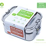 Ecozoi Stainless Steel 3-in-1 Rectangle LEAK PROOF Lunch Box for Kids & Adults | BONUS Mini Pod + FREE Reusable Lunch Bag | Sustainable Zero Waste Eco Friendly Bento Box Food Storage Container