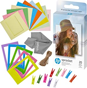 Zink Photo Paper and Frames Bundle - 20 Pack - Sticker Paper for HP Sprocket Printers - Sticky 2x3 Sheets for Printing Pocket Size Phone Pictures - with Frames, Hanging Clips, String