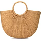 Natural Chic Hand-Woven Round Handle Ring Toto Retro Large Casual Summer Beach Handbags (Yellow Grass 15.7x12 H inches)