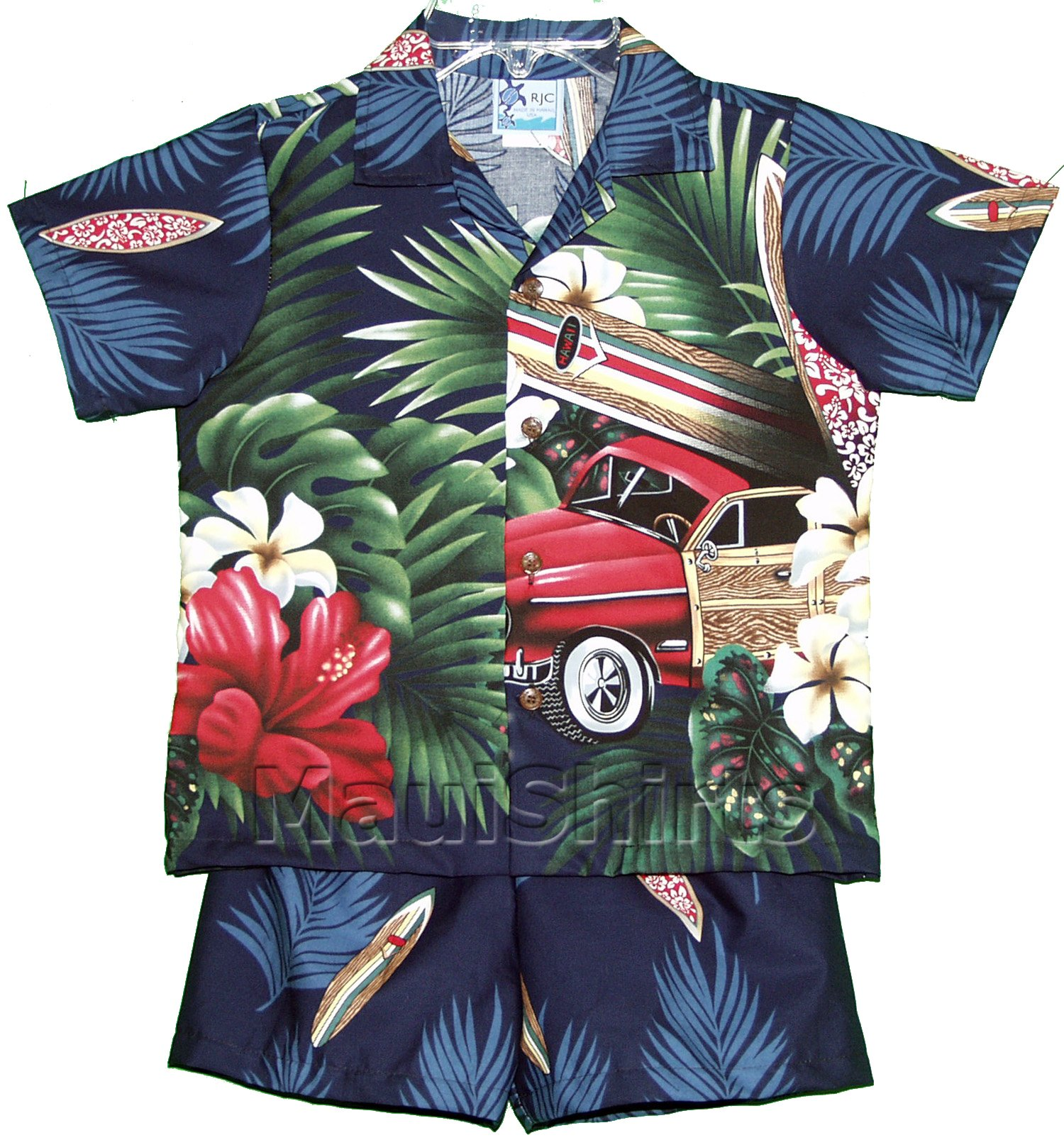 RJC Boys Tropical Surfboard Woodie 2pc Set in Navy Blue - 5T