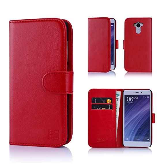 competitive price 4e773 79416 Xiaomi Redmi 4 Case by 32nd Book Style Faux Leather Wallet Cover for Redmi  4 - Red
