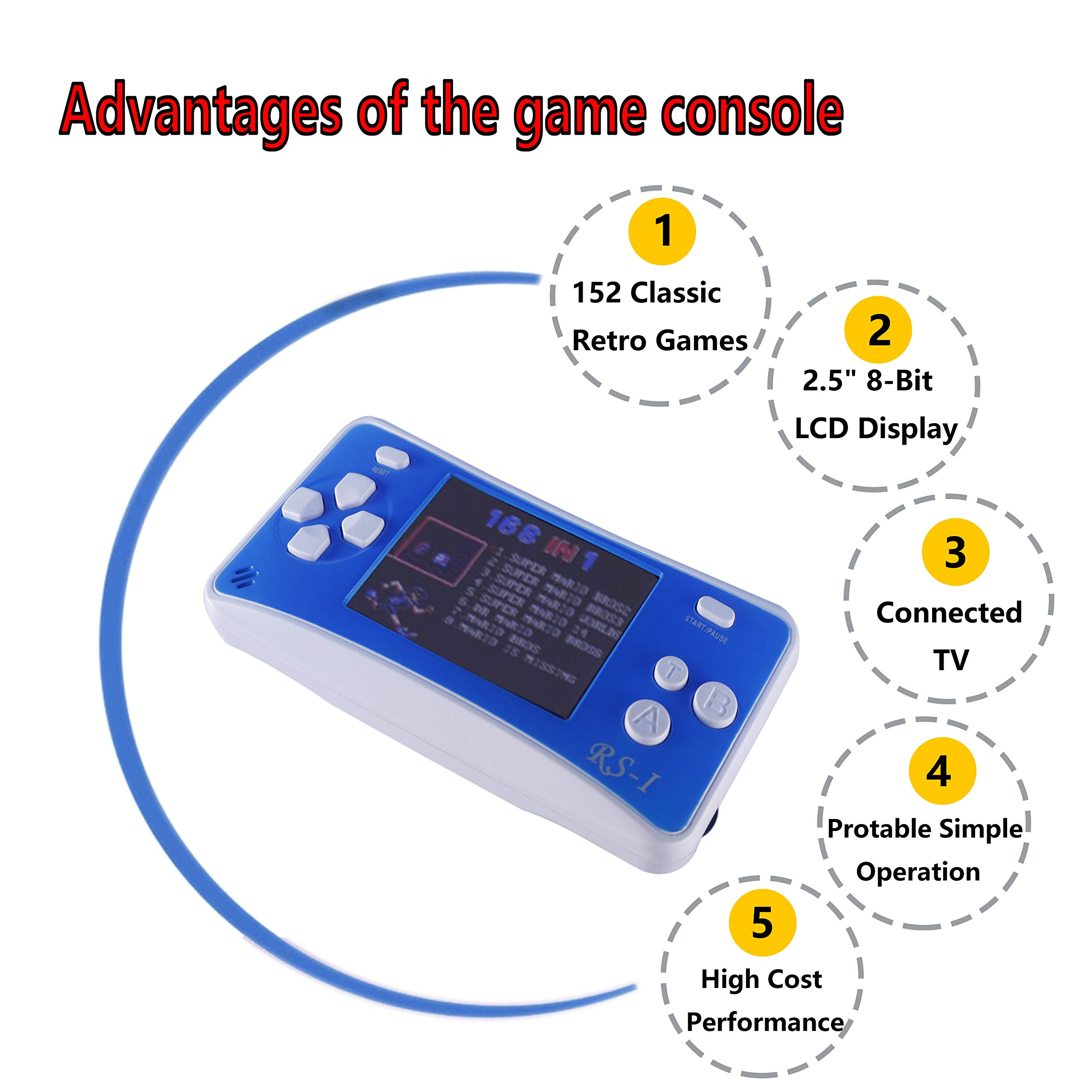 2 Packs Handheld Game Console for Children,The 80's Arcade Retro Game Player with 2.5'' 8-Bit LCD Portable Video Games Can Connected TV,Built-in 152 Classic Old School Game(Green and Blue) by Sokolp (Image #5)