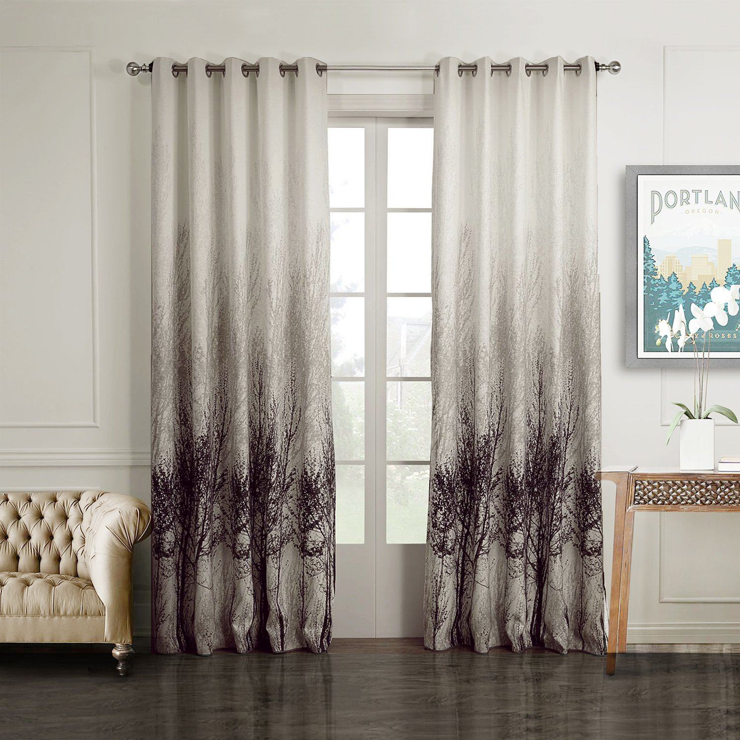 Ink Tree Curtains for Living Room - Anady 2 Panel Watercolor Decro Curtains  Modern Design Drapes Grommet 42W 84L