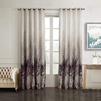 Ink Tree Curtains For Living Room Anady 2 Panel Watercolor Decro Curtains Modern Design Drapes Grommet 42w 84l