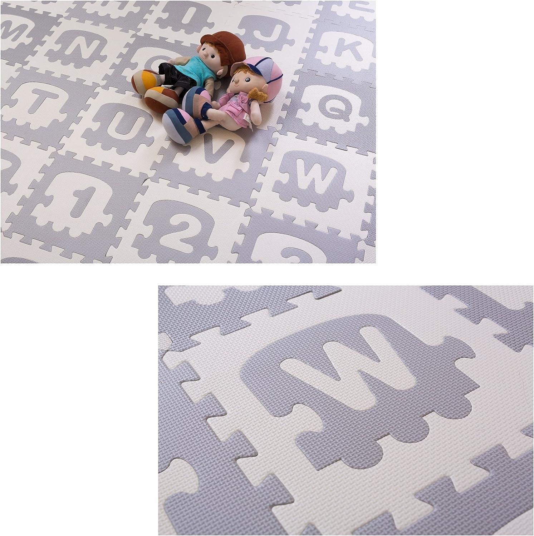 BodenMax/® Tapis de Jeu Puzzle pour Enfant et B/éb/é 36 pi/èces Tapis Alphabet et Chiffres Dalles de Protection en Mousse Embo/îtables EVA 30x30x1 cm