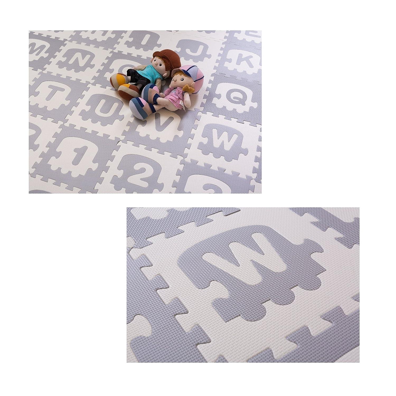 BodenMax 30 x 30 x 1 cm Esterilla Para Niños Esterilla Con Pequeños Dibujos Modelo Esterilla Puzzle Para Jugar y Divertirse (Mapa, 36 Unidades)