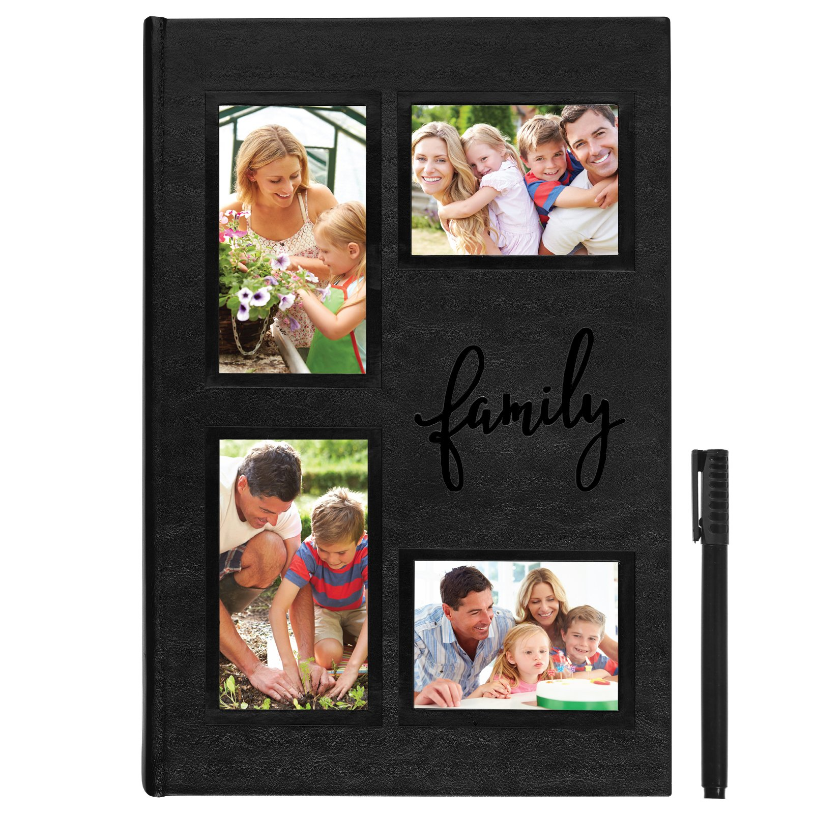 Americanflat Embroidered Photo Album - Holds 300 Photos - Fits Photos Size 4x6 inches - 4 Opening Cover - Ultra-Fine Tip Pen Included