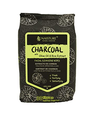 CHARCOAL CLEANSING WIPES, 30 tissues by NAISTURE