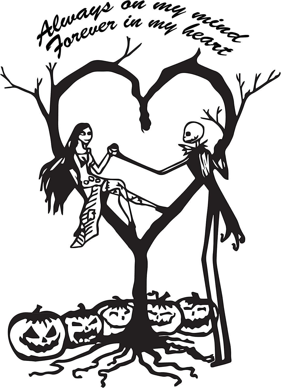 "Jack /& Sally Nightmare Before Christmas Jack Sally Love Vinyl Decal 6/"" White"