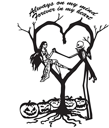la decal jack sally love connection nightmare before christmas always on my mind forever in - Nightmare Before Christmas Window Decorations