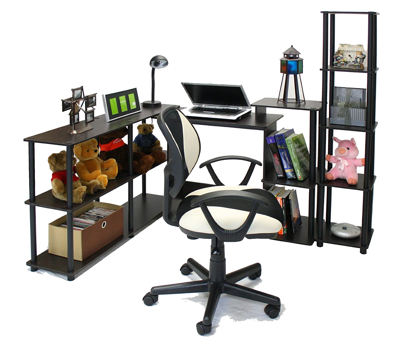 FURINNO Efficient Home Laptop Notebook Computer Desk Espresso//Black Square Side Shelves