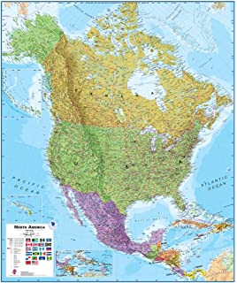 Amazoncom North America Laminated Wall Map Laminated Map Of