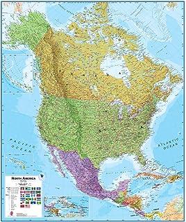 Amazoncom North America Laminated Wall Map Laminated Map Of - North america maps