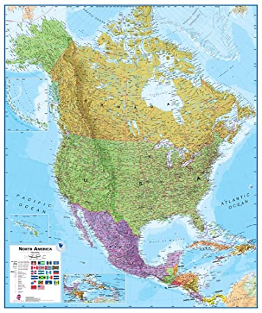 Amazoncom Maps International North America Wall Map Laminated - Wall maps