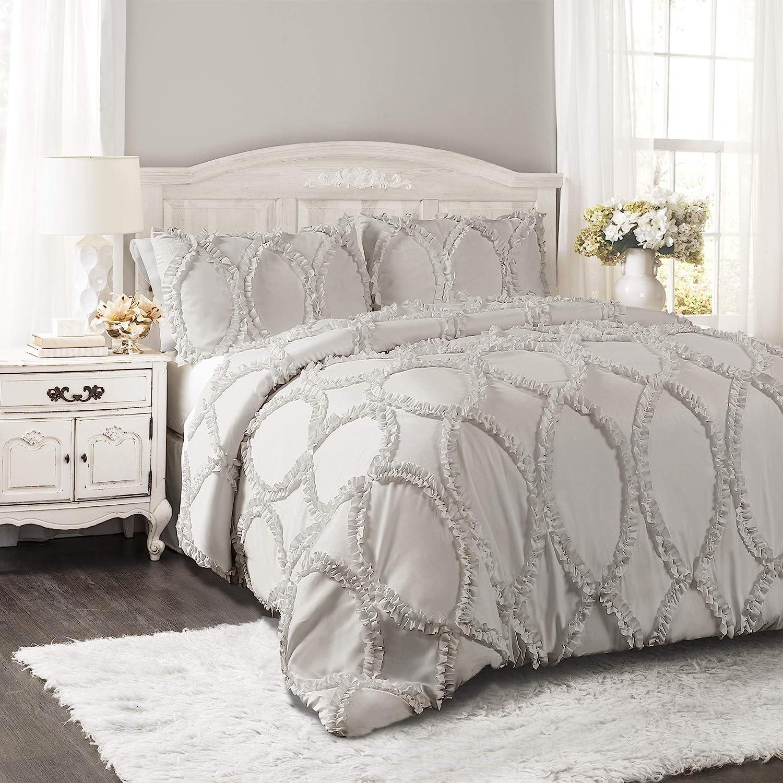 Lush Decor Comforter Ruffled 3 Piece Set with Pillow Shams-Full Queen-Light Gray