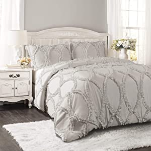 Lush Decor Avon Comforter Ruffled 3 Piece Bedding Set with Pillow Shams King Light Gray