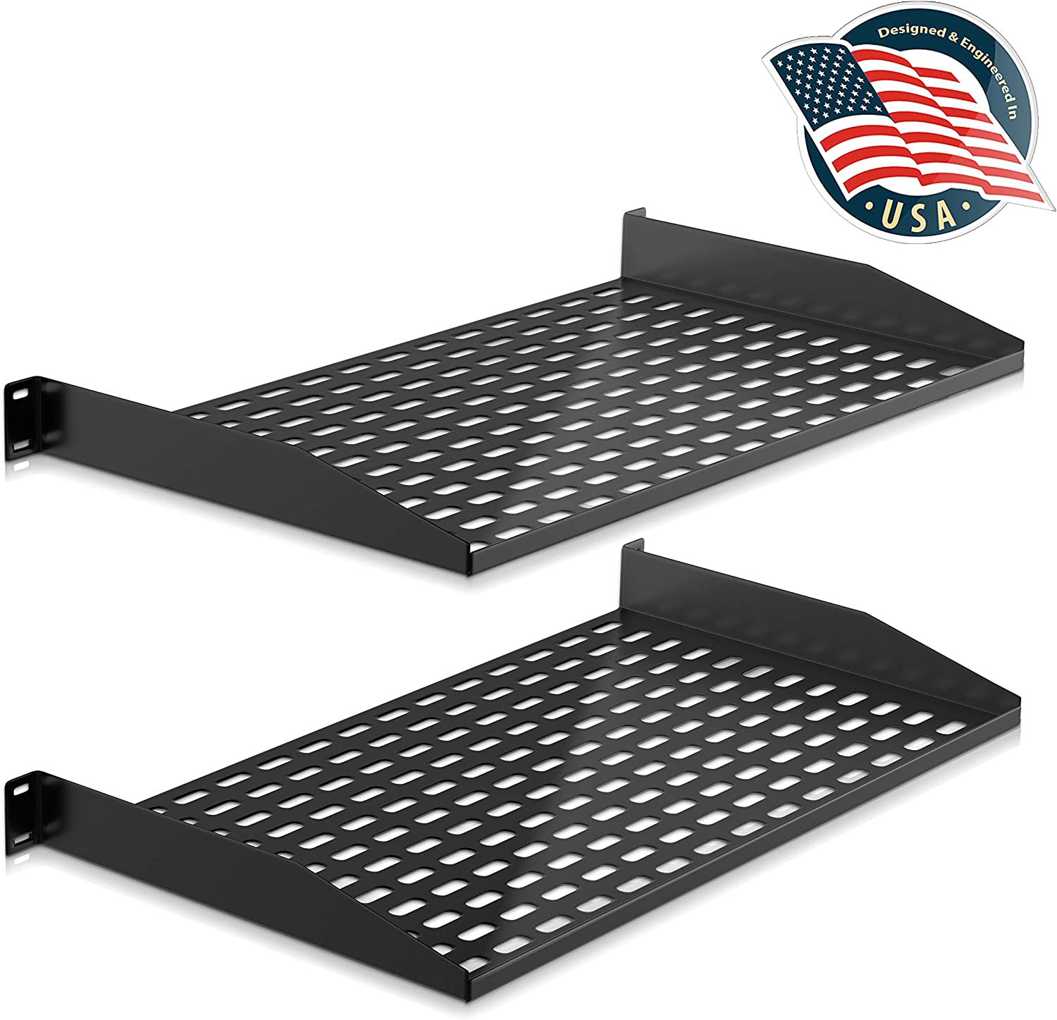 2-Pc 1U Server Rack Shelf, Vented Shelves for Good Air Circulation, Cantilever Mount, Wall Mount Rack, Universal Device, Cabinet Shelf, Computer Case Mounting Tray, Black-Pyle PLRSTN14UX2