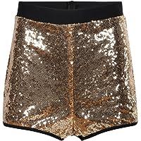 HaoDuoYi Women's Flashy Booty Sequin High Waist Clubwear Party Hot Shorts