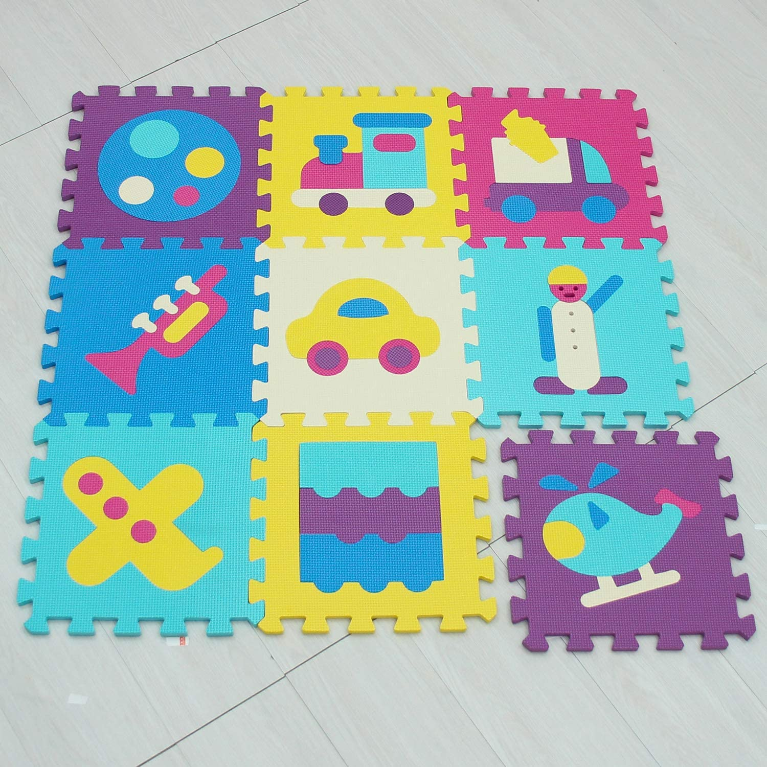 Baby Play Mats|Foam Play Mat Tiles|Jigsaw Puzzle Interlocking Floor for Children,Kids and Toddlers|Gym Exercise and Crawling EVA Saft mat MUSHEN 006
