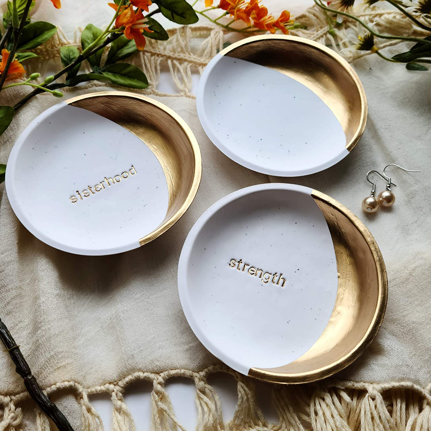 Cute Tiny Ceramic Personalized Engagement Ring Dish gold or silver rim 14 color options Small Ruby Red Customizable Wedding Ring Holder