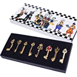 Kingdom Hearts Sora Keyblade Keychain Pendant Necklace Set of 8 (gold)
