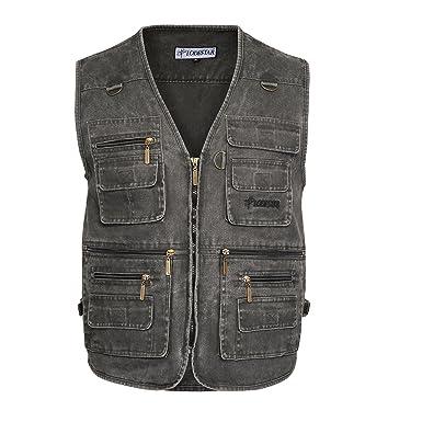 Belloo Herren Outdoor Sport Weste mit 16 Taschen, Farbe Grau, Gr. 2XL(